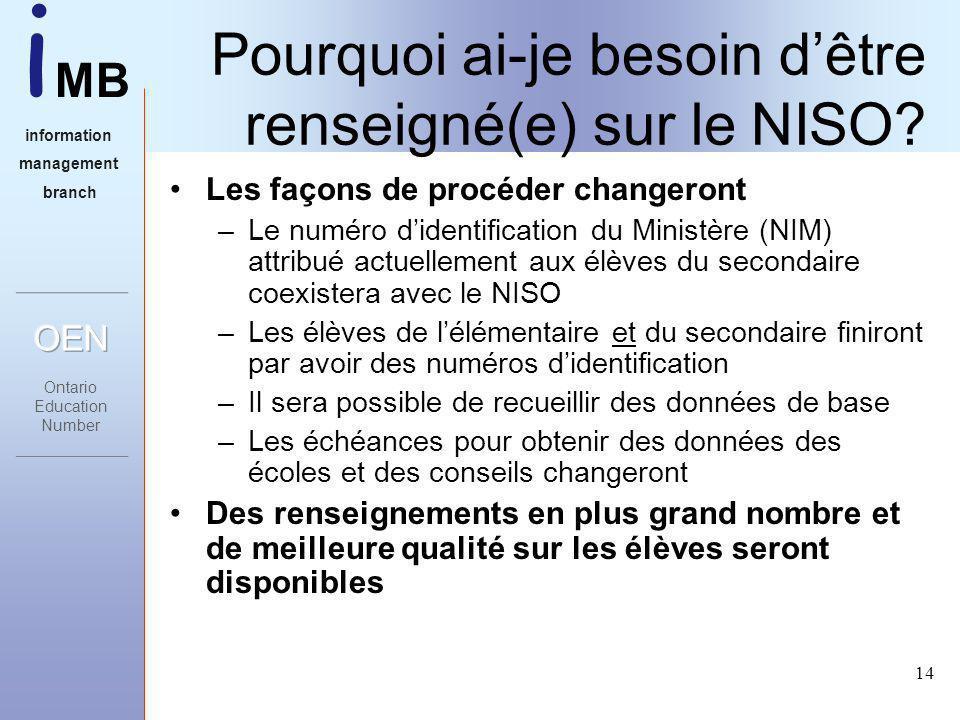 i MB information management branch 14 Pourquoi ai-je besoin dêtre renseigné(e) sur le NISO.