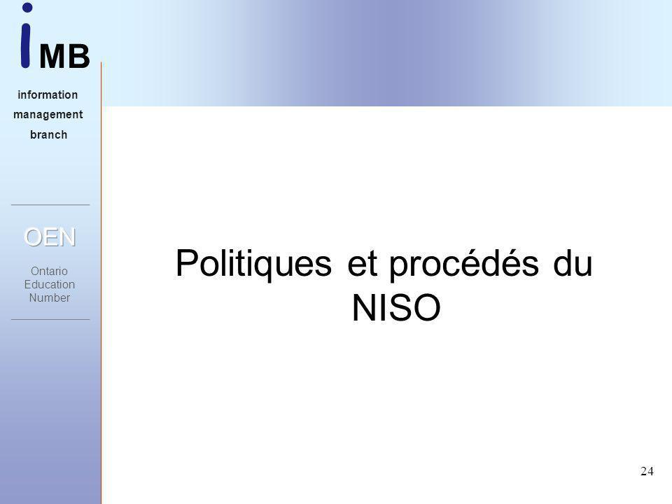 i MB information management branch 24 Politiques et procédés du NISO