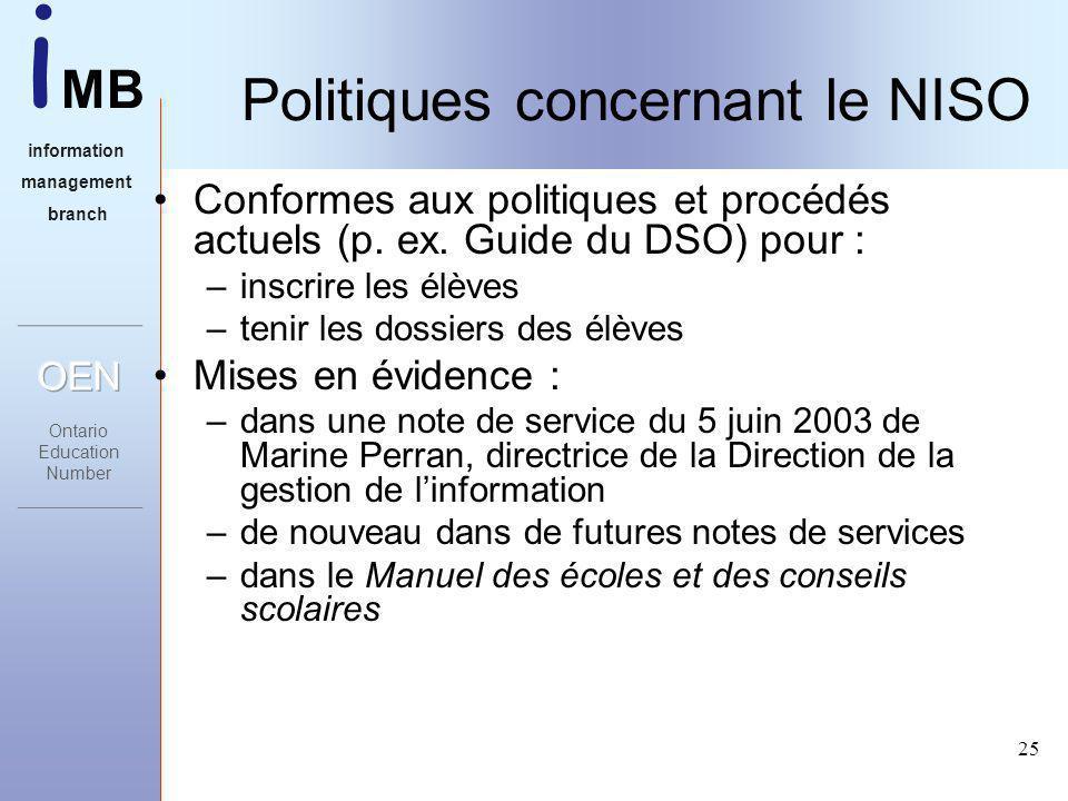 i MB information management branch 25 Politiques concernant le NISO Conformes aux politiques et procédés actuels (p.