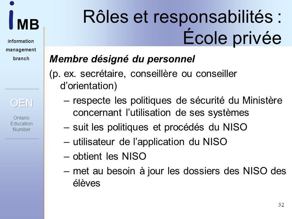 i MB information management branch 32 Rôles et responsabilités : École privée Membre désigné du personnel (p.