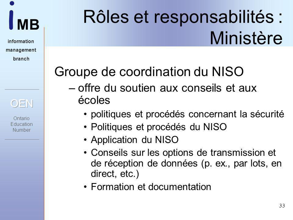 i MB information management branch 33 Rôles et responsabilités : Ministère Groupe de coordination du NISO –offre du soutien aux conseils et aux écoles politiques et procédés concernant la sécurité Politiques et procédés du NISO Application du NISO Conseils sur les options de transmission et de réception de données (p.