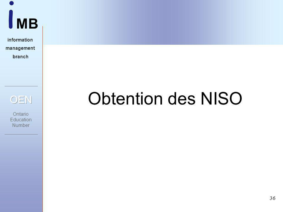 i MB information management branch 36 Obtention des NISO