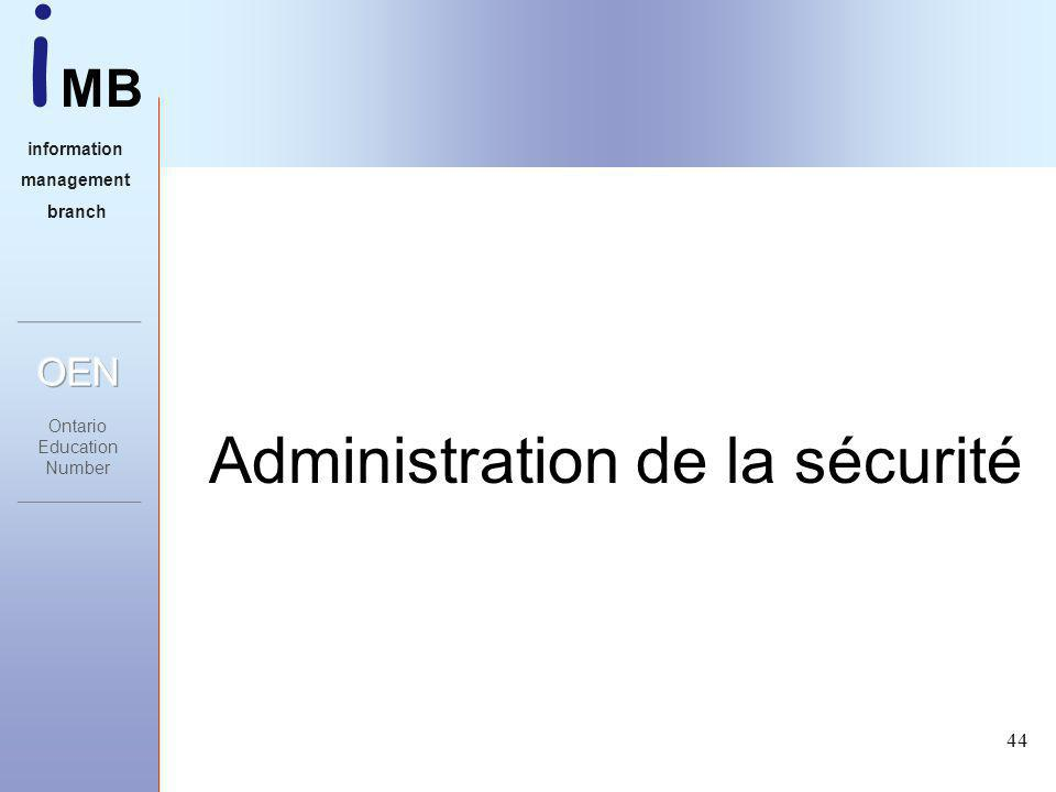 i MB information management branch 44 Administration de la sécurité