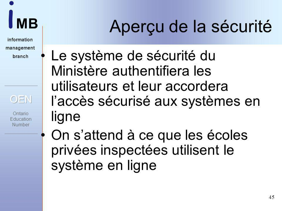 i MB information management branch 45 Aperçu de la sécurité Le système de sécurité du Ministère authentifiera les utilisateurs et leur accordera laccès sécurisé aux systèmes en ligne On sattend à ce que les écoles privées inspectées utilisent le système en ligne
