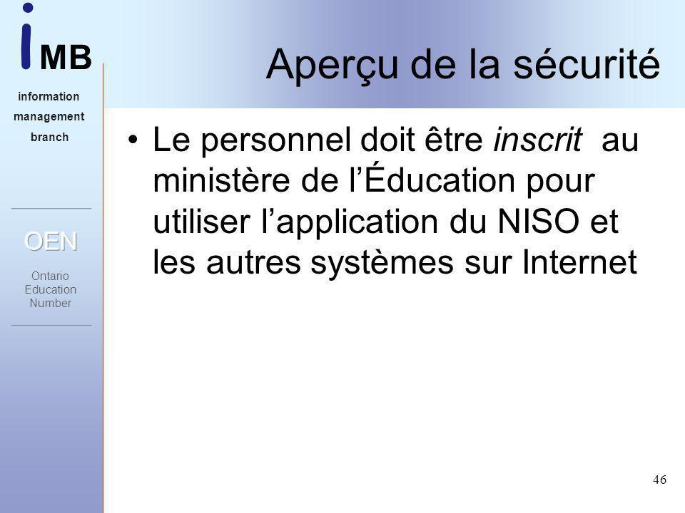 i MB information management branch 46 Aperçu de la sécurité Le personnel doit être inscrit au ministère de lÉducation pour utiliser lapplication du NISO et les autres systèmes sur Internet