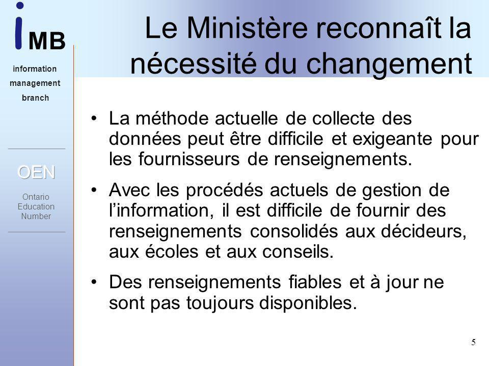 i MB information management branch 5 Le Ministère reconnaît la nécessité du changement La méthode actuelle de collecte des données peut être difficile et exigeante pour les fournisseurs de renseignements.