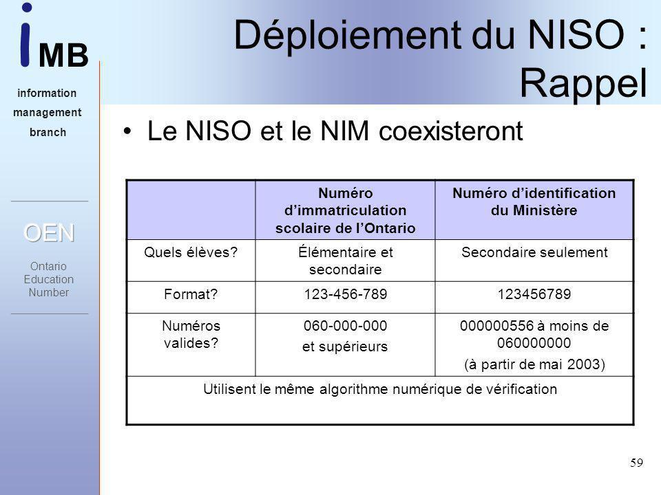 i MB information management branch 59 Déploiement du NISO : Rappel Le NISO et le NIM coexisteront Numéro dimmatriculation scolaire de lOntario Numéro didentification du Ministère Quels élèves Élémentaire et secondaire Secondaire seulement Format 123-456-789123456789 Numéros valides.