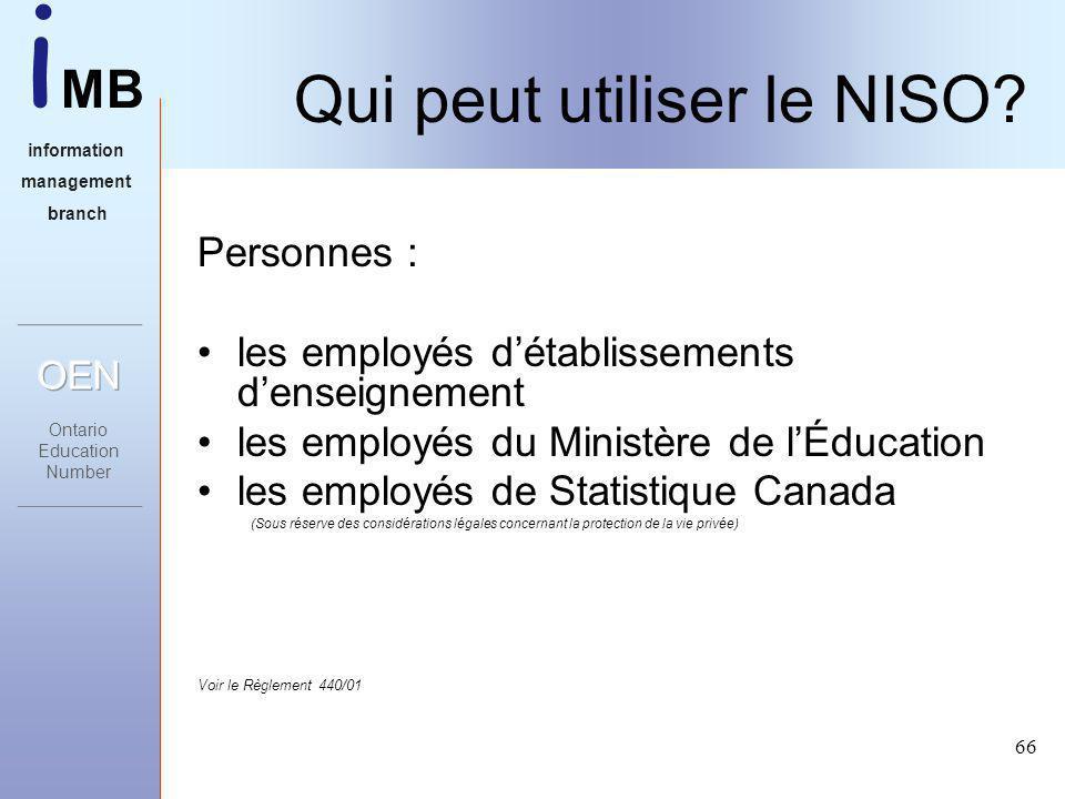 i MB information management branch 66 Qui peut utiliser le NISO.