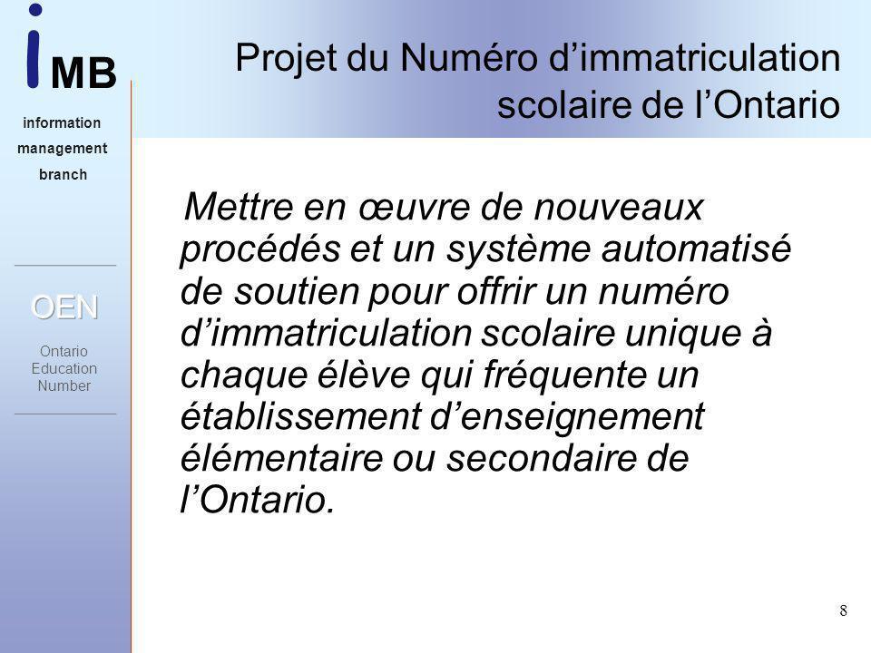 i MB information management branch 8 Projet du Numéro dimmatriculation scolaire de lOntario Mettre en œuvre de nouveaux procédés et un système automatisé de soutien pour offrir un numéro dimmatriculation scolaire unique à chaque élève qui fréquente un établissement denseignement élémentaire ou secondaire de lOntario.