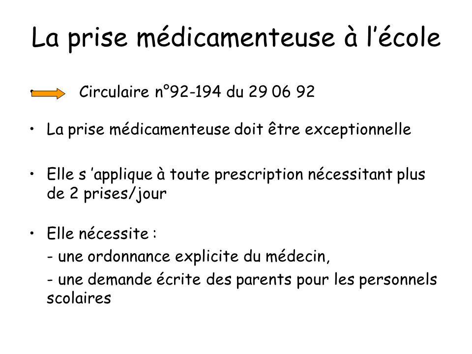 La prise médicamenteuse à lécole Circulaire n°92-194 du 29 06 92 La prise médicamenteuse doit être exceptionnelle Elle s applique à toute prescription