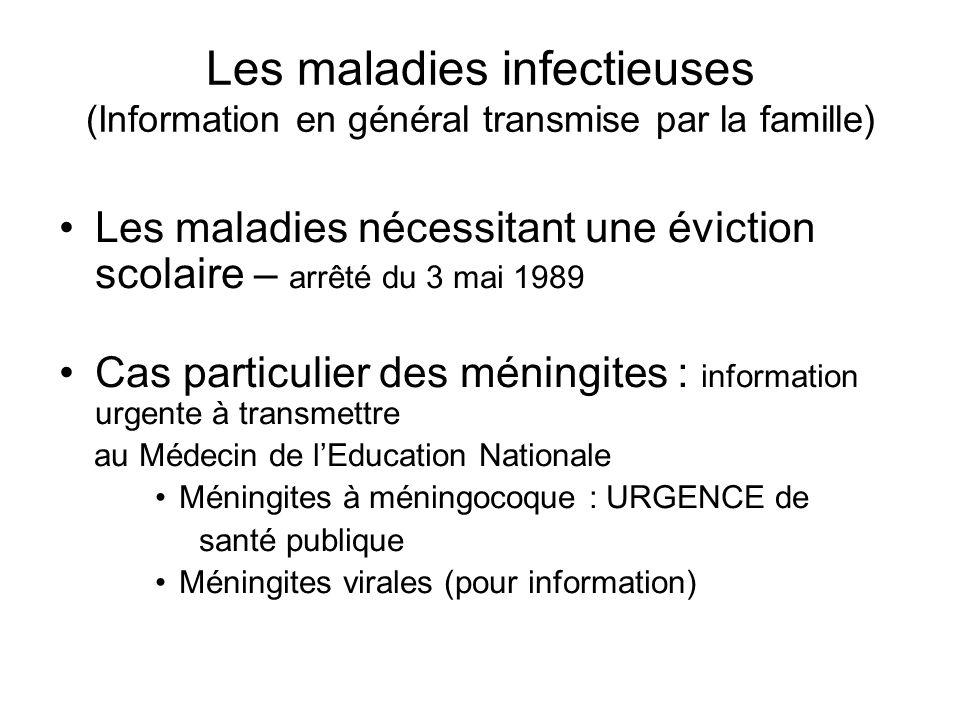 Les maladies infectieuses (Information en général transmise par la famille) Les maladies nécessitant une éviction scolaire – arrêté du 3 mai 1989 Cas