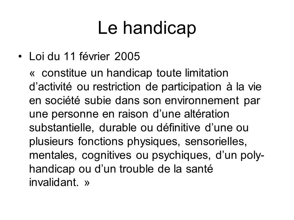 Le handicap Loi du 11 février 2005 « constitue un handicap toute limitation dactivité ou restriction de participation à la vie en société subie dans s