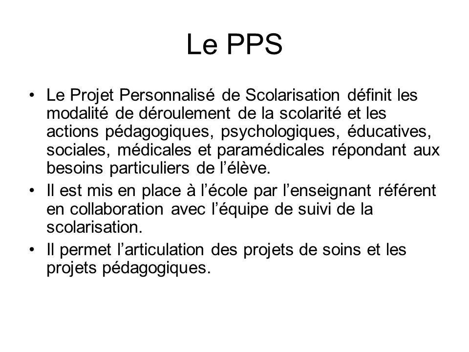 Le PPS Le Projet Personnalisé de Scolarisation définit les modalité de déroulement de la scolarité et les actions pédagogiques, psychologiques, éducatives, sociales, médicales et paramédicales répondant aux besoins particuliers de lélève.