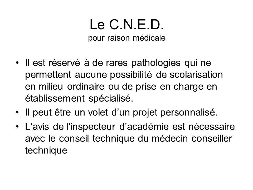Le C.N.E.D. pour raison médicale Il est réservé à de rares pathologies qui ne permettent aucune possibilité de scolarisation en milieu ordinaire ou de