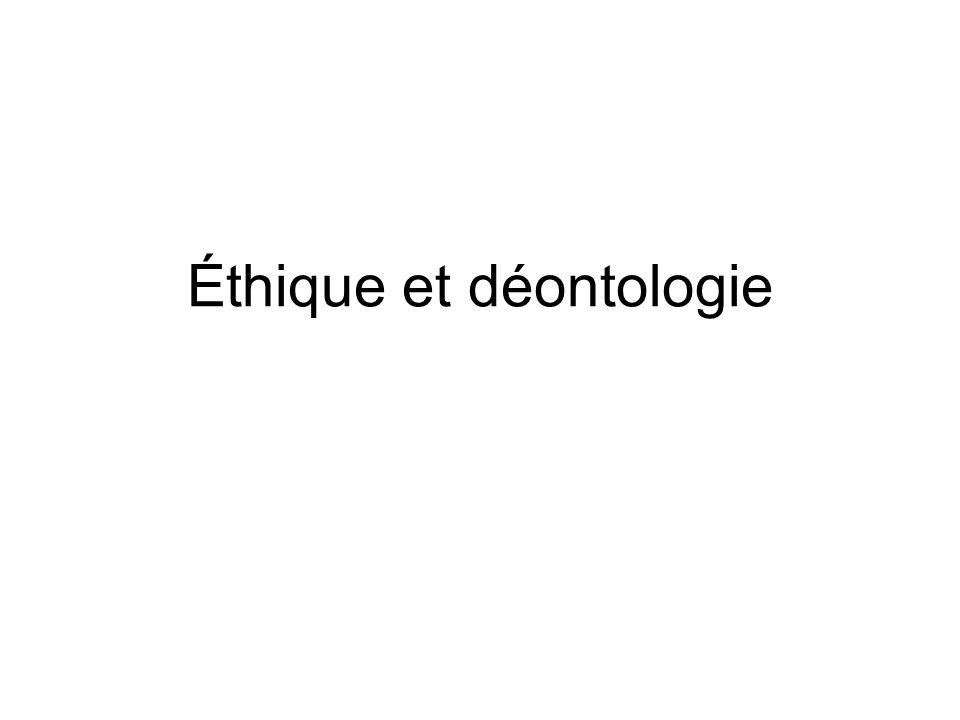Éthique et déontologie