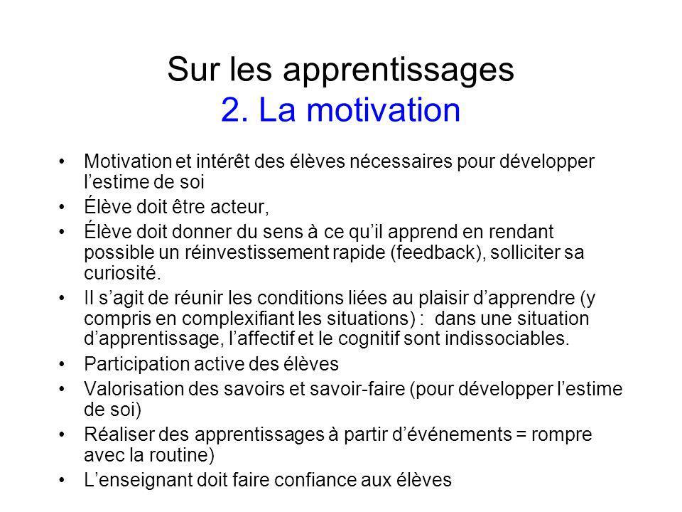 Sur les apprentissages 2.