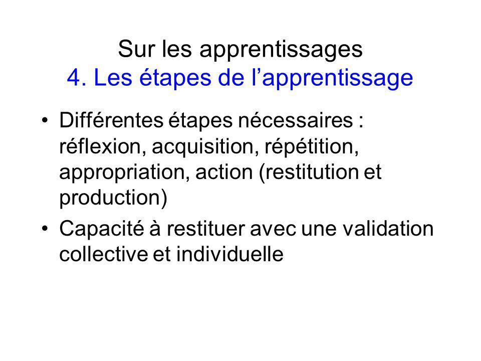 Sur les apprentissages 4.