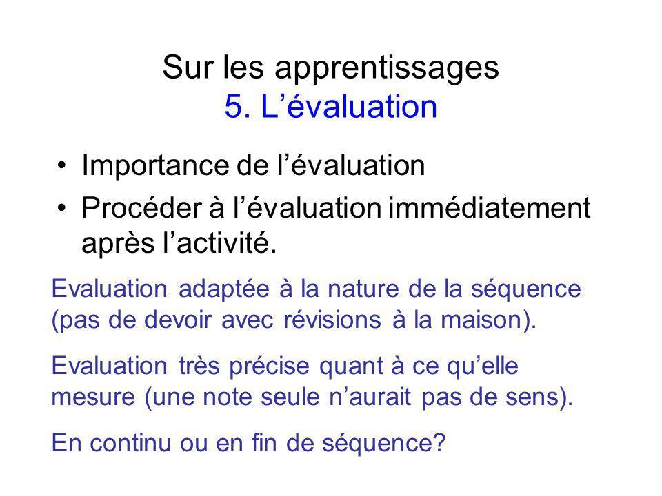 Sur les apprentissages 5.