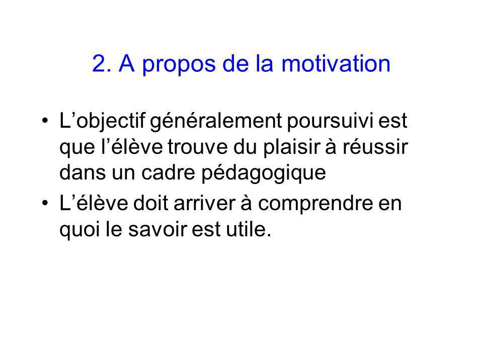 2. A propos de la motivation Lobjectif généralement poursuivi est que lélève trouve du plaisir à réussir dans un cadre pédagogique Lélève doit arriver