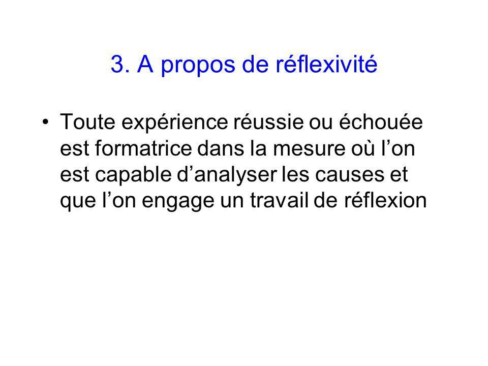 3. A propos de réflexivité Toute expérience réussie ou échouée est formatrice dans la mesure où lon est capable danalyser les causes et que lon engage