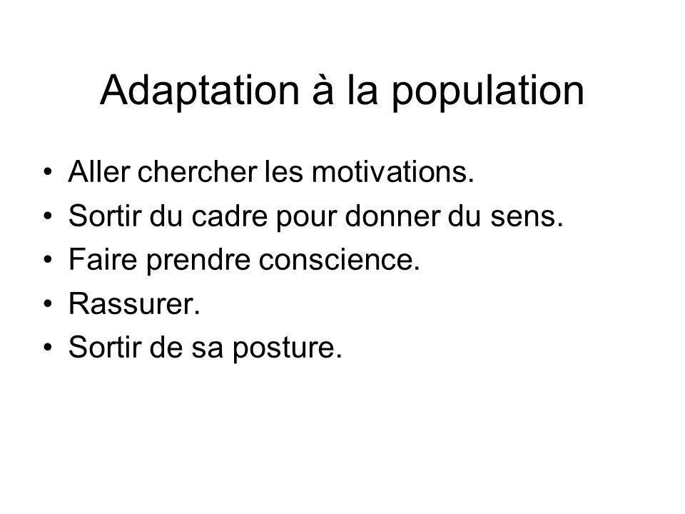 Adaptation à la population Aller chercher les motivations.