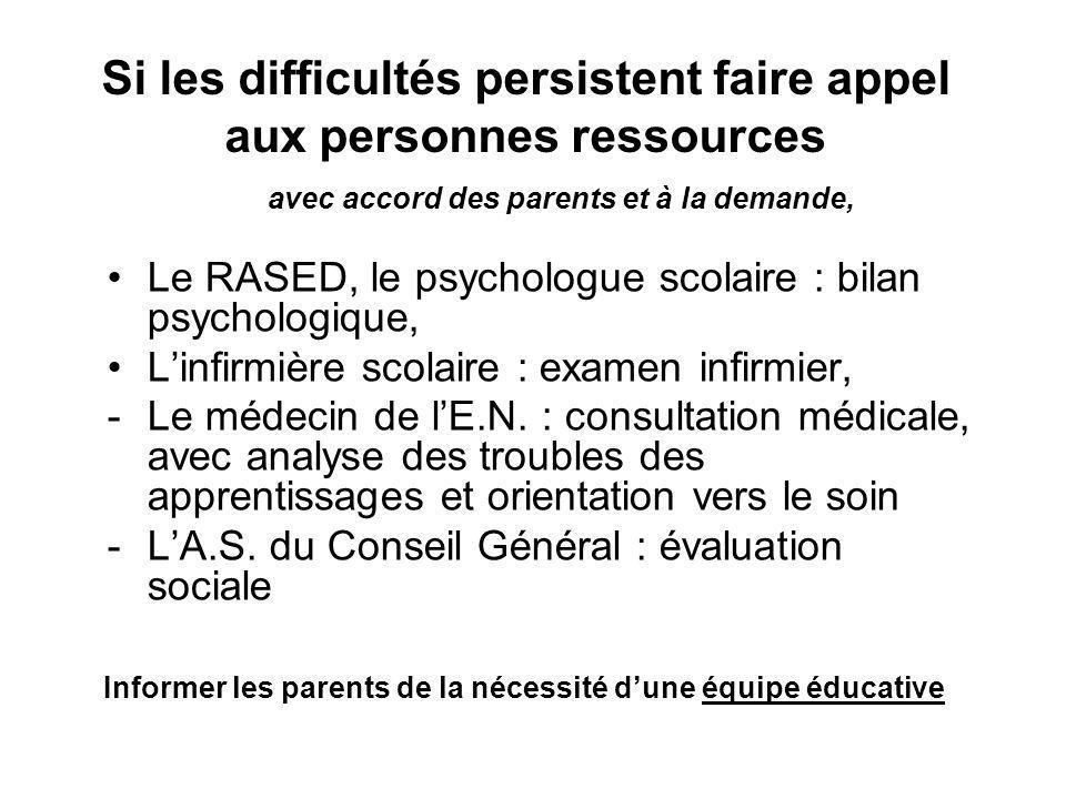 Si les difficultés persistent faire appel aux personnes ressources avec accord des parents et à la demande, Le RASED, le psychologue scolaire : bilan psychologique, Linfirmière scolaire : examen infirmier, -Le médecin de lE.N.