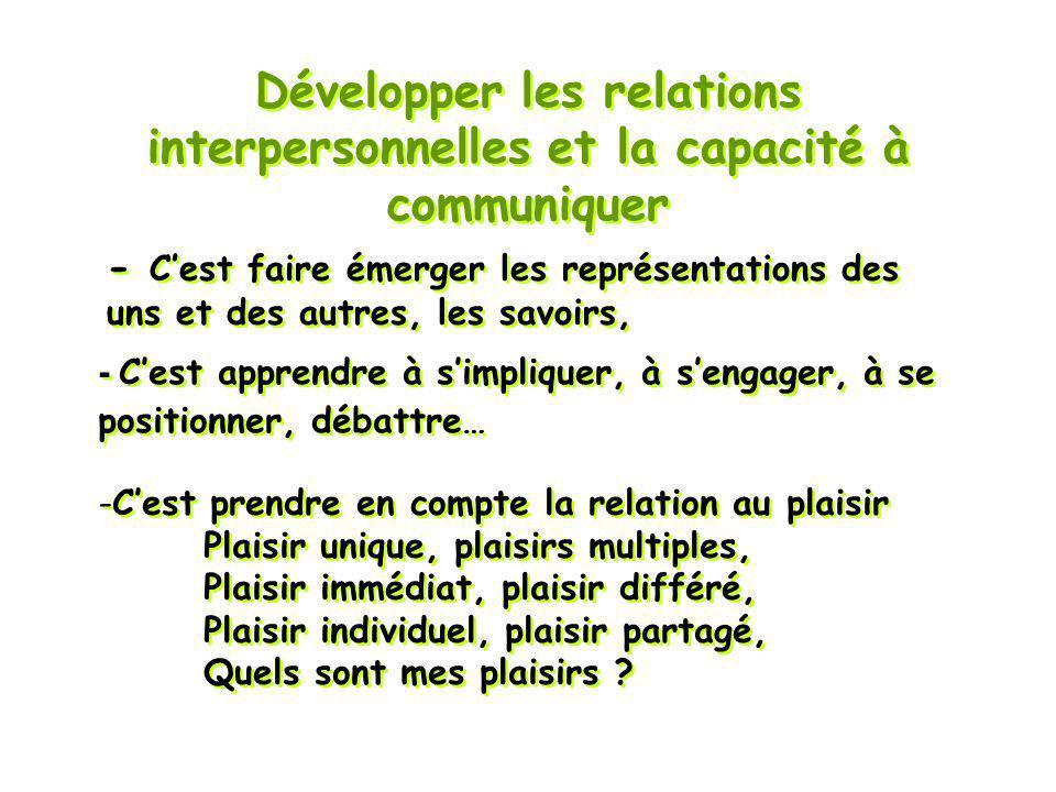 Développer les relations interpersonnelles et la capacité à communiquer -Cest prendre en compte la relation au plaisir Plaisir unique, plaisirs multip