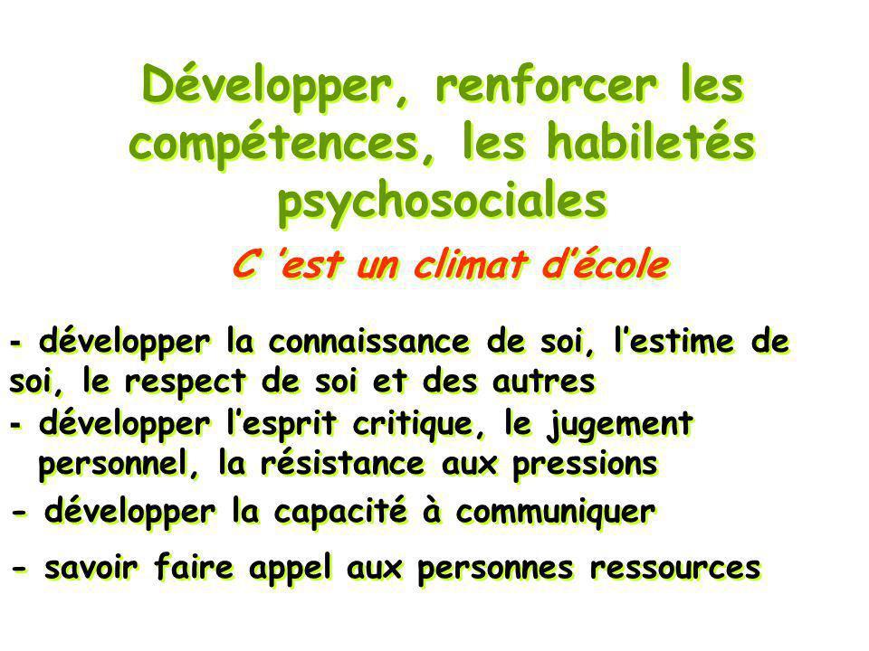 C est un climat décole Développer, renforcer les compétences, les habiletés psychosociales - savoir faire appel aux personnes ressources - développer