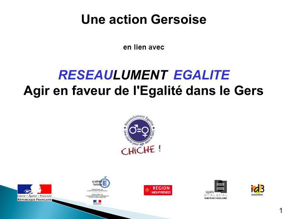 1 Une action Gersoise en lien avec RESEAULUMENT EGALITE Agir en faveur de l'Egalité dans le Gers