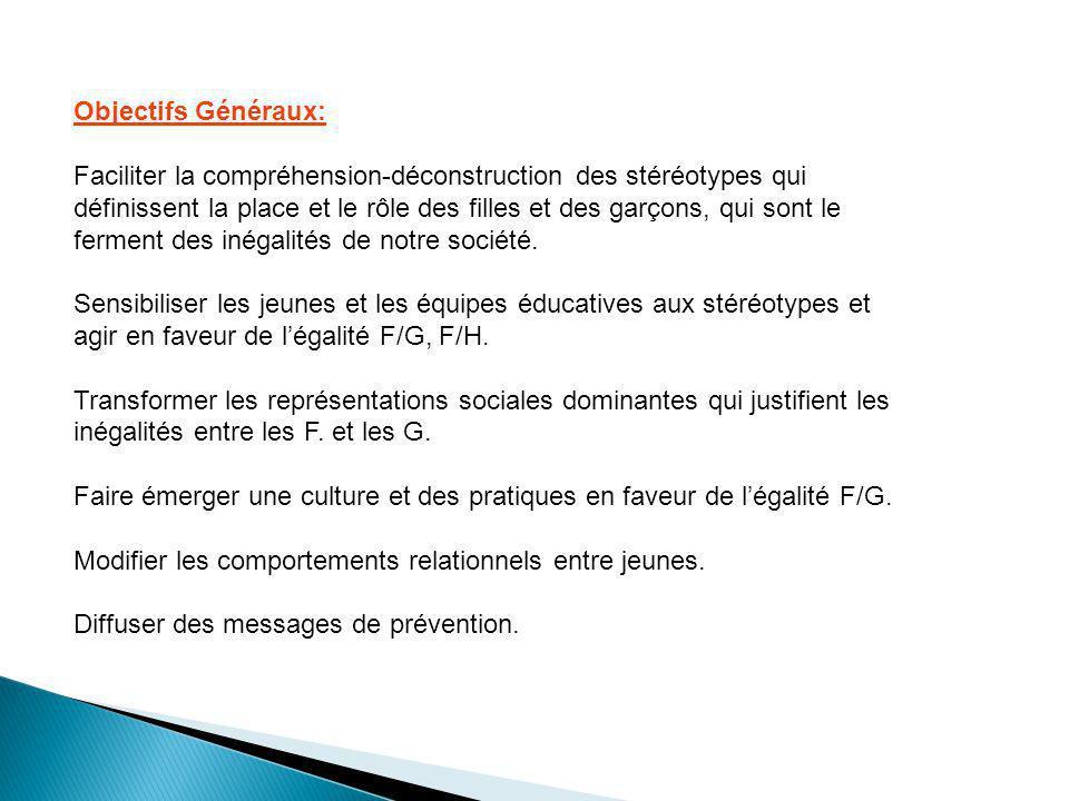 Objectifs Généraux: Faciliter la compréhension-déconstruction des stéréotypes qui définissent la place et le rôle des filles et des garçons, qui sont