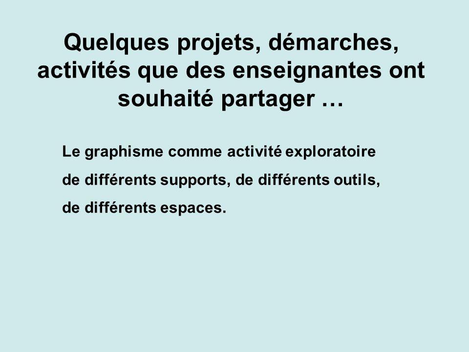 Quelques projets, démarches, activités que des enseignantes ont souhaité partager … Le graphisme comme activité exploratoire de différents supports, de différents outils, de différents espaces.