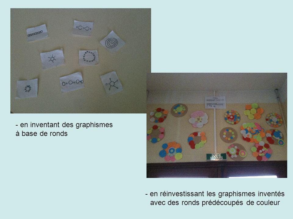 - en inventant des graphismes à base de ronds - en réinvestissant les graphismes inventés avec des ronds prédécoupés de couleur