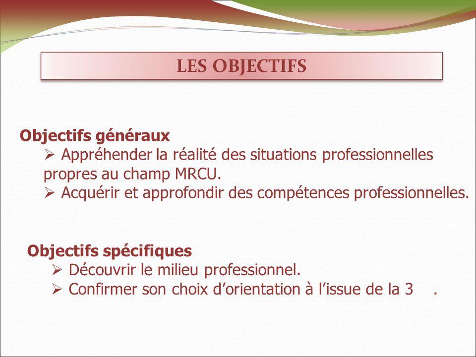 LES OBJECTIFS Objectifs généraux Appréhender la réalité des situations professionnelles propres au champ MRCU.