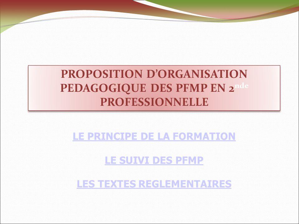 PROPOSITION DORGANISATION PEDAGOGIQUE DES PFMP EN 2 nde PROFESSIONNELLE LE PRINCIPE DE LA FORMATION LE SUIVI DES PFMP LES TEXTES REGLEMENTAIRES