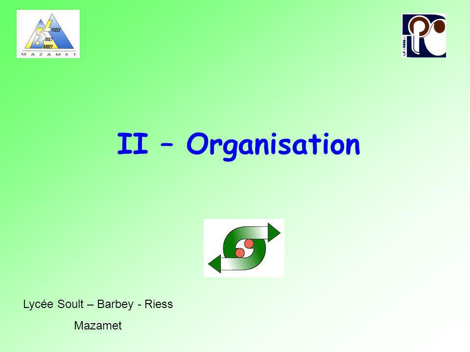 II – Organisation Lycée Soult – Barbey - Riess Mazamet