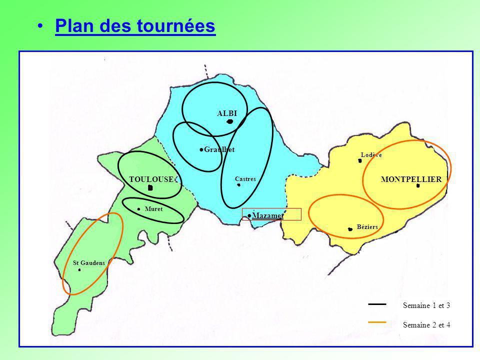 ALBI Castres Mazamet MONTPELLIER Béziers Lodève TOULOUSE Muret St Gaudens Graulhet Semaine 1 et 3 Semaine 2 et 4 Plan des tournées