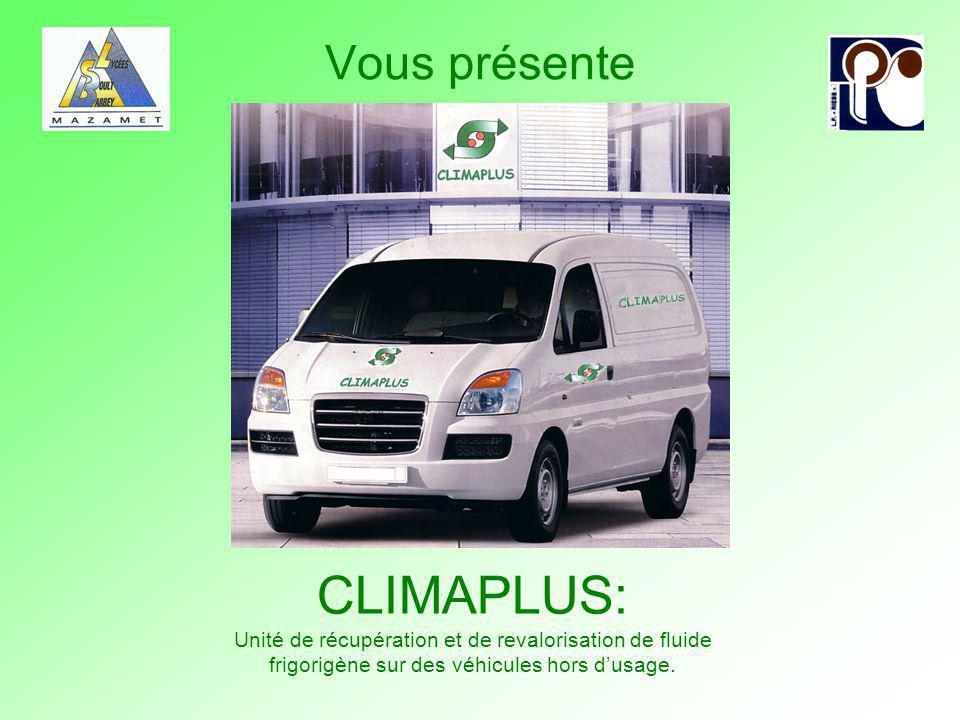 CLIMAPLUS: Unité de récupération et de revalorisation de fluide frigorigène sur des véhicules hors dusage. … Vous présente