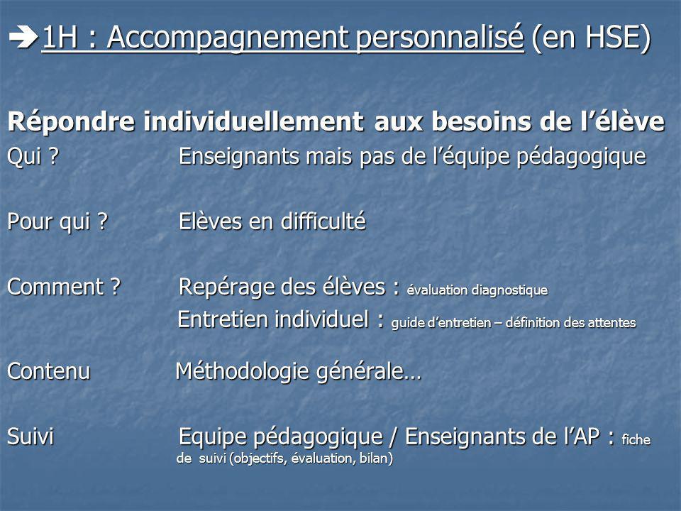 1H : Accompagnement personnalisé (en HSE) 1H : Accompagnement personnalisé (en HSE) Répondre individuellement aux besoins de lélève Qui .