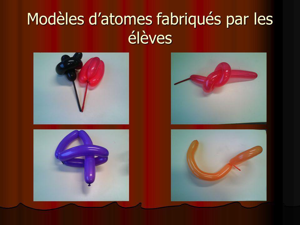 Modèles datomes fabriqués par les élèves