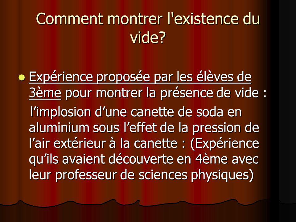 Réalisation de lexpérience en salle de science Réaction des élèves de 4ème et du professeur de Français amenant à rechercher une interprétation à lexpérience.