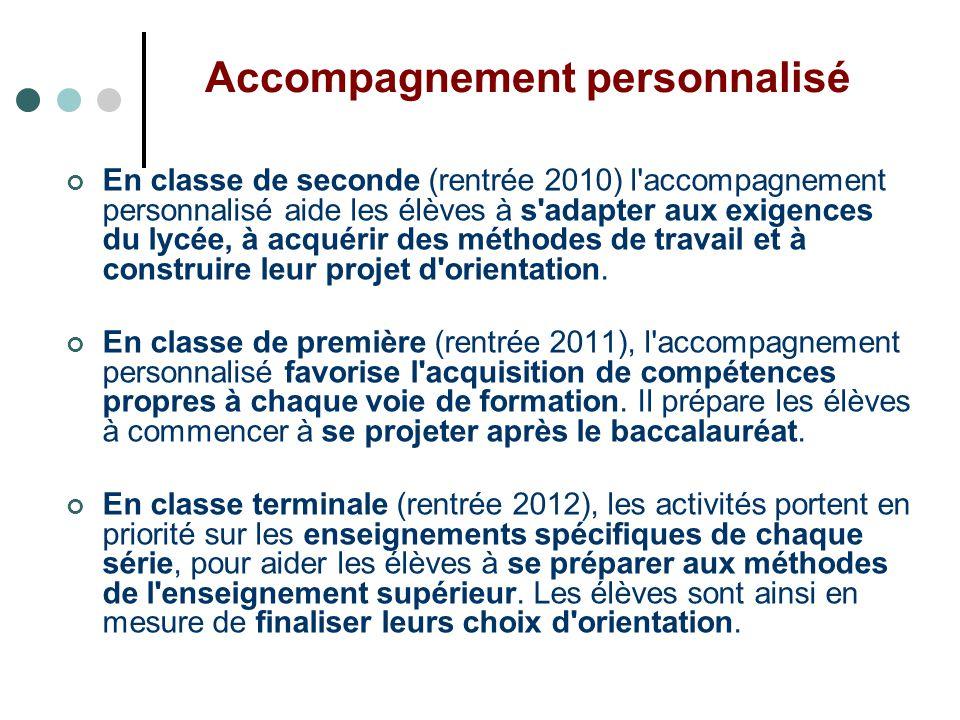 Accompagnement personnalisé En classe de seconde (rentrée 2010) l'accompagnement personnalisé aide les élèves à s'adapter aux exigences du lycée, à ac