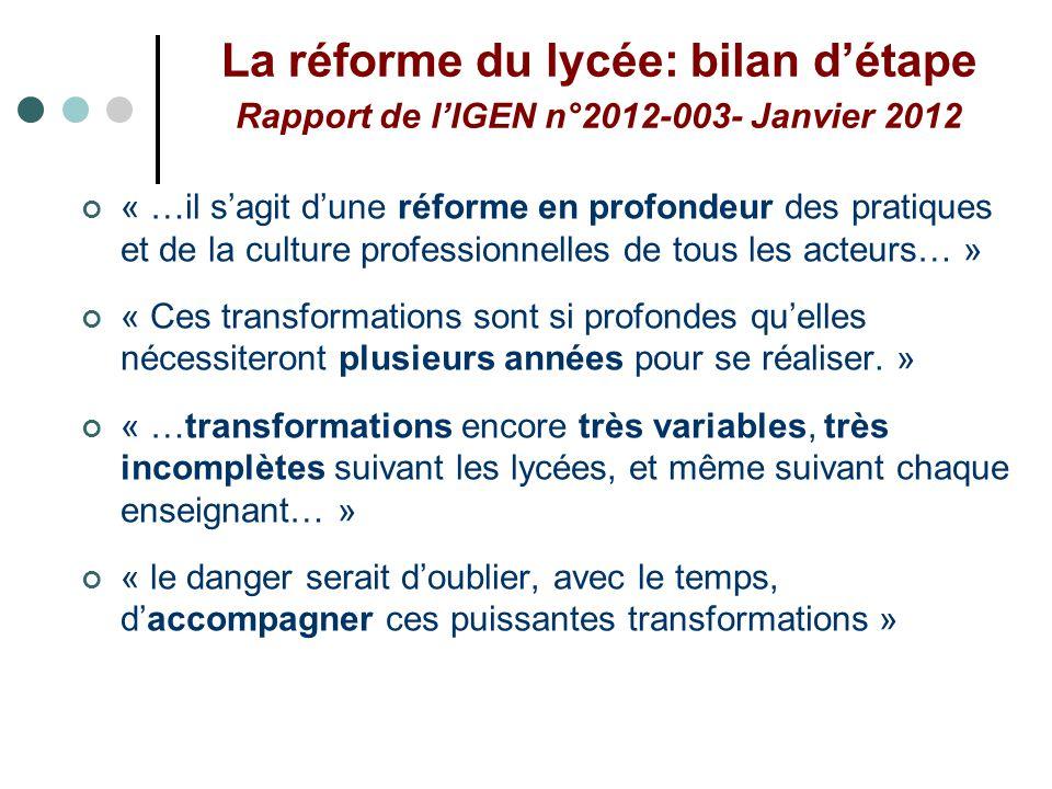La réforme du lycée: bilan détape Rapport de lIGEN n°2012-003- Janvier 2012 « …il sagit dune réforme en profondeur des pratiques et de la culture prof