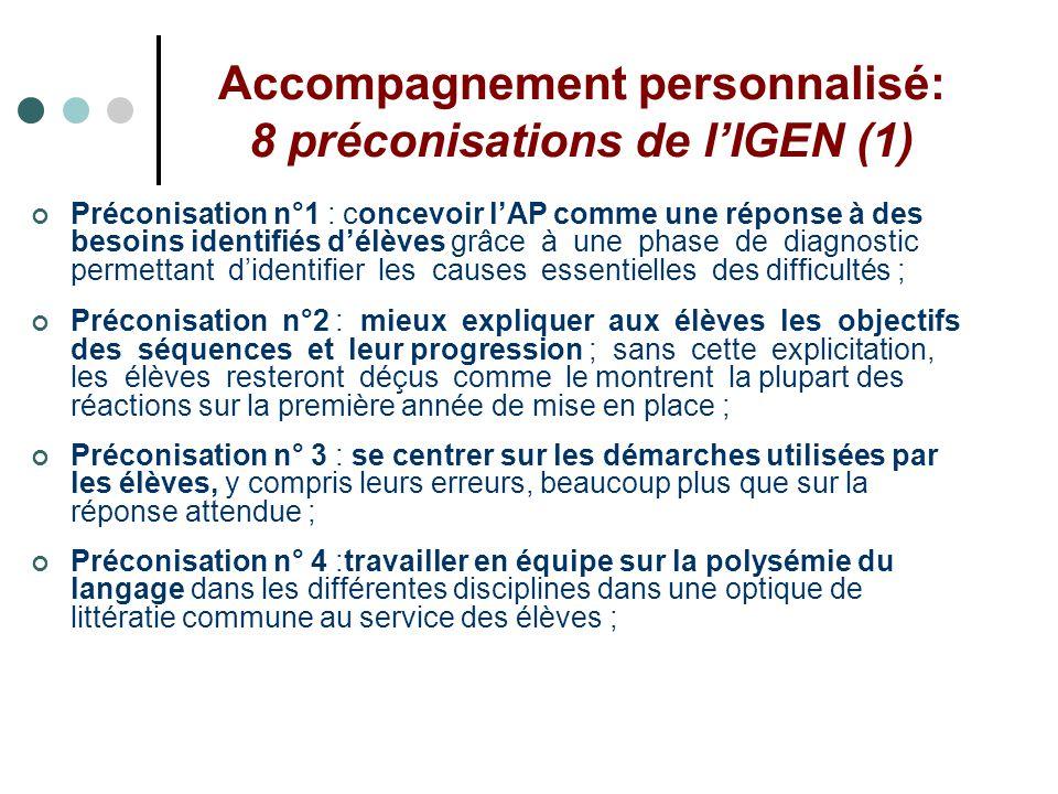 Accompagnement personnalisé: 8 préconisations de lIGEN (1) Préconisation n°1 : concevoir lAP comme une réponse à des besoins identifiés délèves grâce