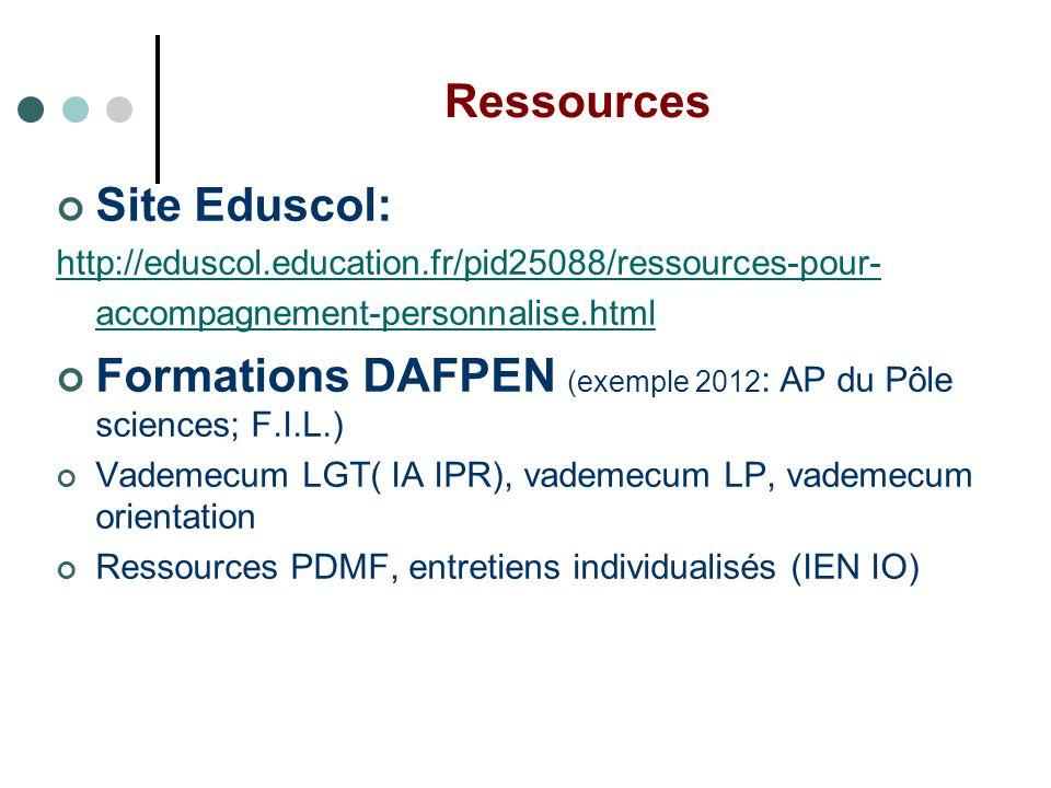Ressources Site Eduscol: http://eduscol.education.fr/pid25088/ressources-pour- accompagnement-personnalise.html Formations DAFPEN (exemple 2012 : AP d