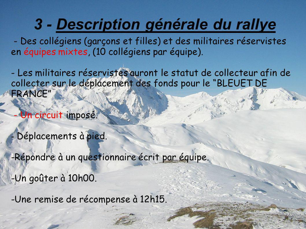 3 - Description générale du rallye - Des collégiens (garçons et filles) et des militaires réservistes en équipes mixtes, (10 collégiens par équipe).