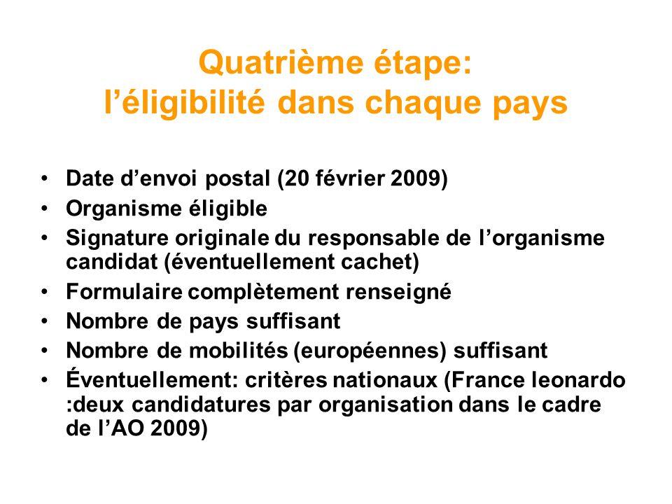 Quatrième étape: léligibilité dans chaque pays Date denvoi postal (20 février 2009) Organisme éligible Signature originale du responsable de lorganism