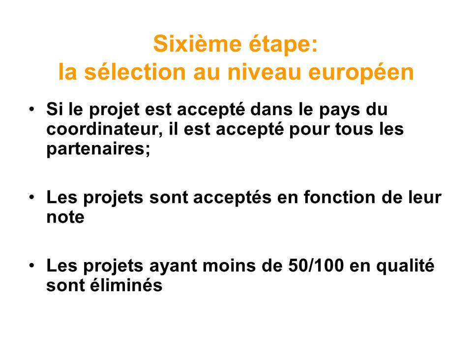 Sixième étape: la sélection au niveau européen Si le projet est accepté dans le pays du coordinateur, il est accepté pour tous les partenaires; Les pr