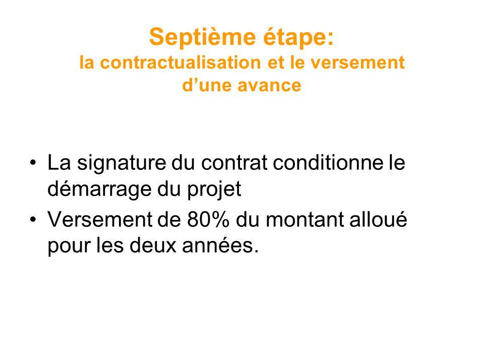 Septième étape: la contractualisation et le versement dune avance La signature du contrat conditionne le démarrage du projet Versement de 80% du monta