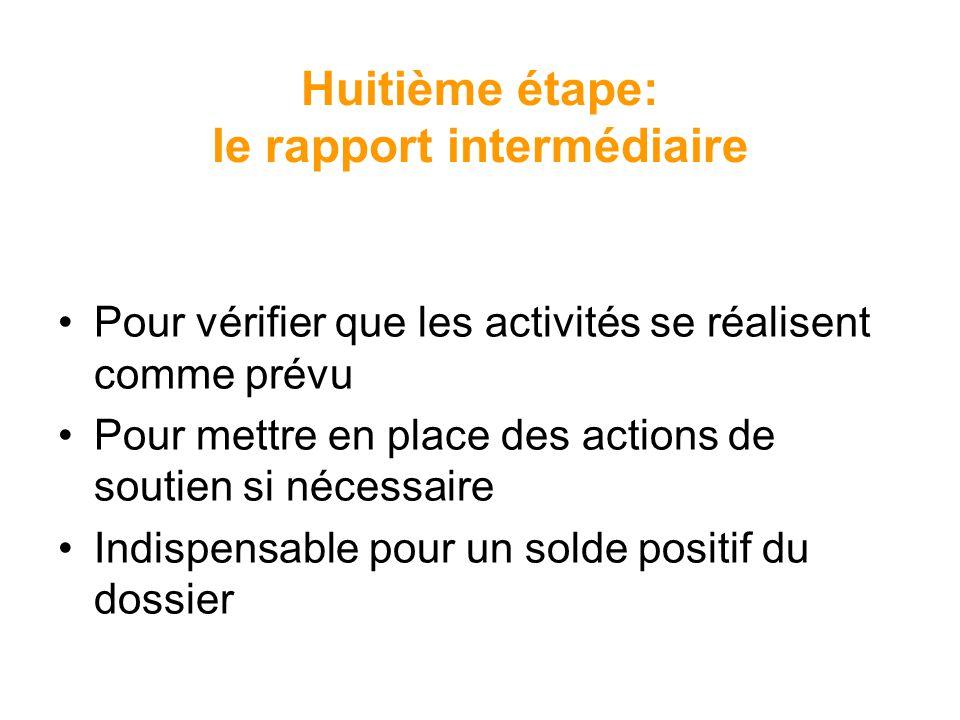 Huitième étape: le rapport intermédiaire Pour vérifier que les activités se réalisent comme prévu Pour mettre en place des actions de soutien si néces