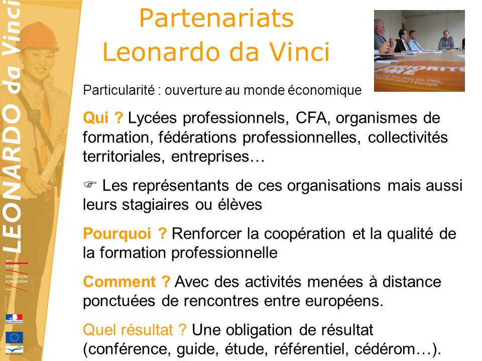 Partenariats Leonardo da Vinci Particularité : ouverture au monde économique Qui ? Lycées professionnels, CFA, organismes de formation, fédérations pr